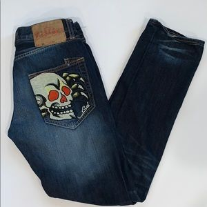 Ed Hardy Button-Fly Jeans Size 32x34